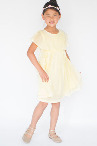 Pastel Yellow Overlap Pleated Dress - Kids Wholesale Boutique Clothing, Dress - Girls Dresses, Yo Baby Wholesale - Yo Baby