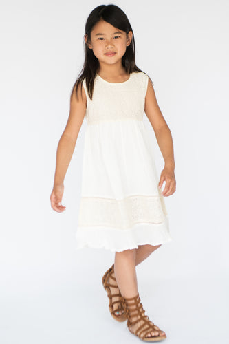 White Net & Lace Detail Dress - Kids Wholesale Boutique Clothing, Dress - Girls Dresses, Yo Baby Wholesale - Yo Baby