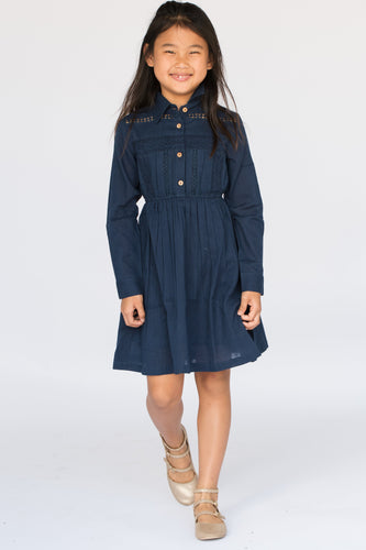 Navy Net & Lace Detail Shirt-Dress