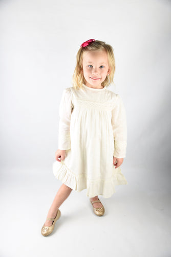 Off-white Lace Detail Sleeves Dress - Kids Wholesale Boutique Clothing, Dress - Girls Dresses, Yo Baby Wholesale - Yo Baby
