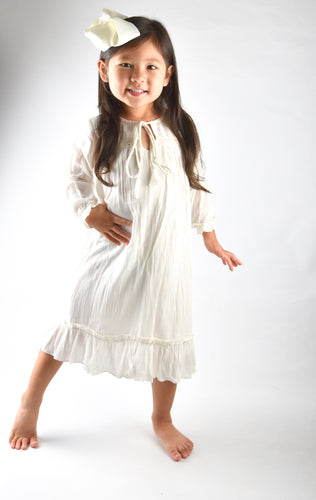 Cream Tie and Lace Detail  Ruffle dress - Kids Wholesale Boutique Clothing, Dress - Girls Dresses, Yo Baby Wholesale - Yo Baby