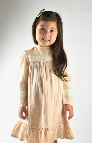 Baby Pink Lace Detail Full Sleeves Dress - Kids Wholesale Boutique Clothing, Dress - Girls Dresses, Yo Baby Wholesale - Yo Baby