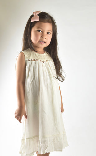 Off-white Lace Detail Dress - Kids Wholesale Boutique Clothing, Dress - Girls Dresses, Yo Baby Wholesale - Yo Baby
