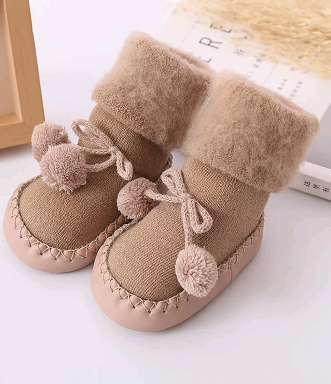 Floor Socks/Booties - Khaki - Kids Wholesale Boutique Clothing,  - Girls Dresses, Yo Baby Wholesale - Yo Baby