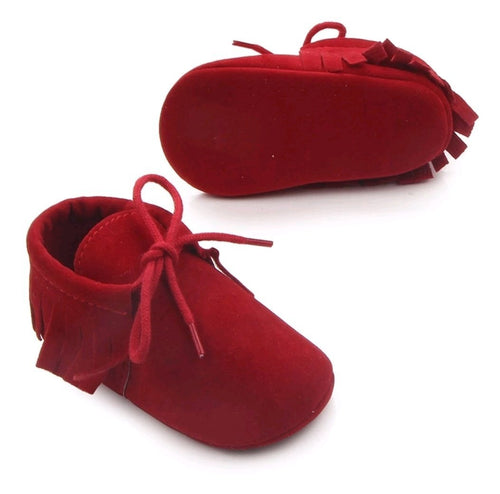 Unisex fringe moccasins - Red - Kids Wholesale Boutique Clothing,  - Girls Dresses, Yo Baby Wholesale - Yo Baby