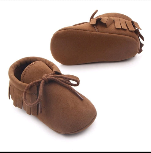 Unisex fringe moccasins - Dark Tan - Kids Wholesale Boutique Clothing,  - Girls Dresses, Yo Baby Wholesale - Yo Baby