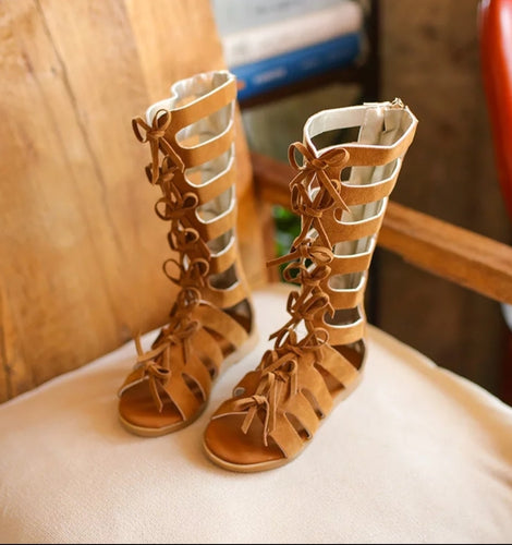 Gladiator Sandals - Camel - Kids Wholesale Boutique Clothing,  - Girls Dresses, Yo Baby Wholesale - Yo Baby