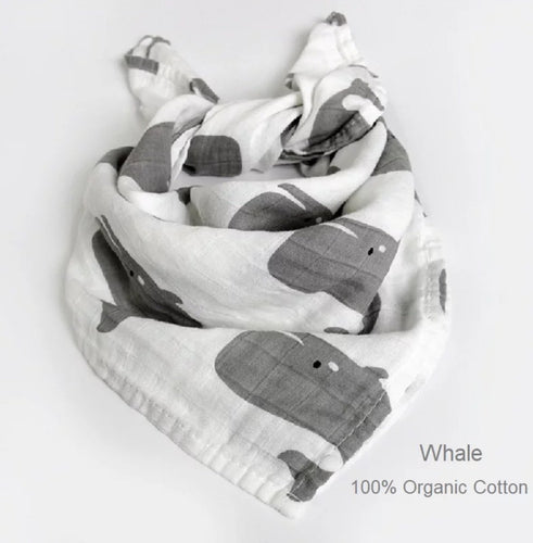 Set of 2 : Multi Purpose Muslin Wrap- Whale Print