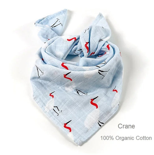 Set of 2 : Multi Purpose Muslin Wrap- Crane Print