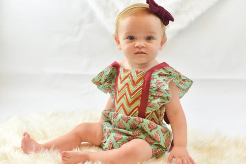 Chevron And Floral Romper - Kids Wholesale Boutique Clothing, 2-pc. set - Girls Dresses, Yo Baby Wholesale - Yo Baby