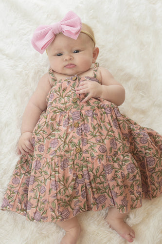 Vintage Pink Button Down Infant Dress With Diaper Cover