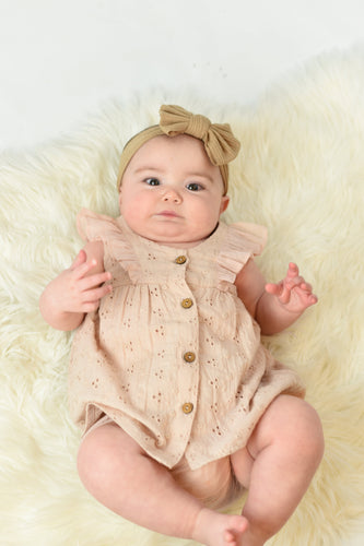 Embroidered Blush Flutter Sleeve Dress With Diaper Cover