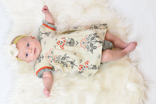 Floral Shift Dress With Contrasting Orange Lace Detail & Diaper Cover Set