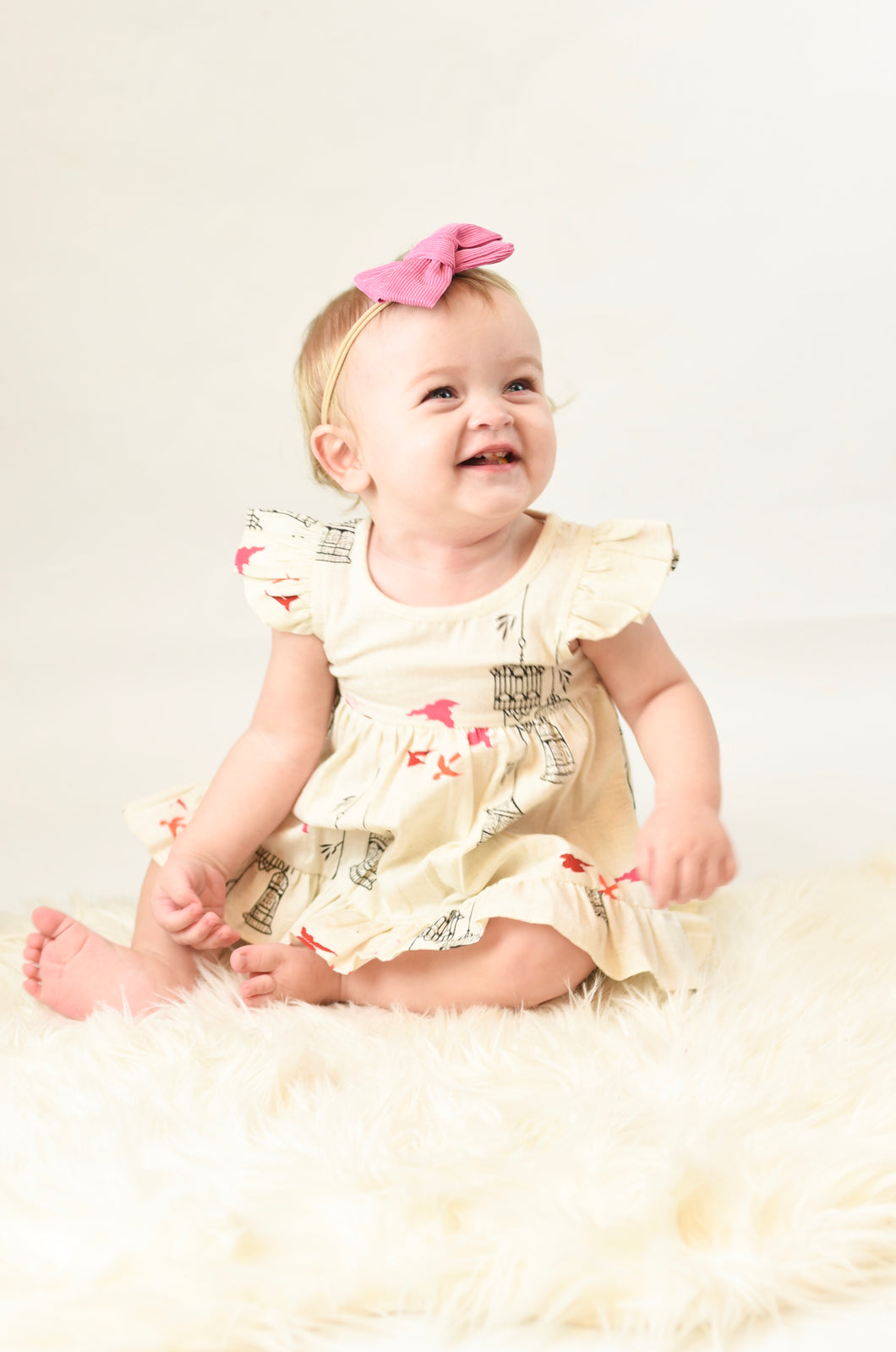 Birdcage Ruffle Sleeve Dress & Diaper Cover - Kids Wholesale Boutique Clothing, 2-pc. set - Girls Dresses, Yo Baby Wholesale - Yo Baby