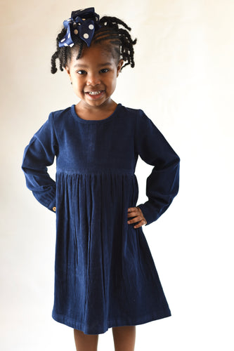 Corduroy Empire Waist Dress - Navy