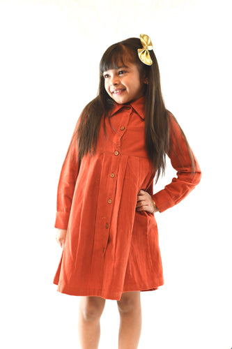 Corduroy Shirt Dress - Rust