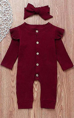 Ruffles Knit Romper With Matching Headband - Cherry Red