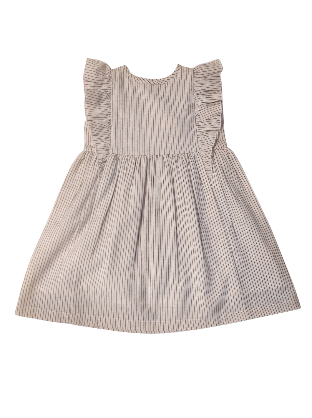 Ecru and Grey Pin Stripe Flutter Sleeves Dress (YB1886)