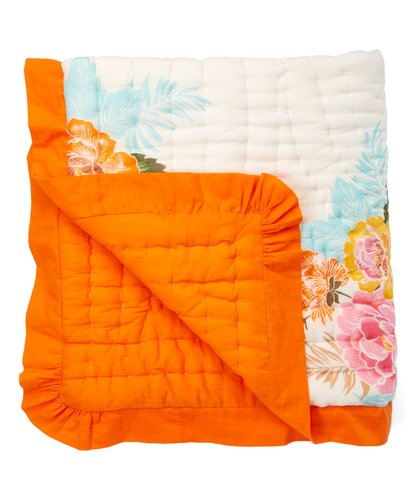 Vintage Rose Blanket with Orange Trim - Kids Wholesale Boutique Clothing, Blanket - Girls Dresses, Yo Baby Wholesale - Yo Baby