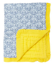 Blue Blanket With Yellow Trim - Kids Wholesale Boutique Clothing, Blanket - Girls Dresses, Yo Baby Wholesale - Yo Baby