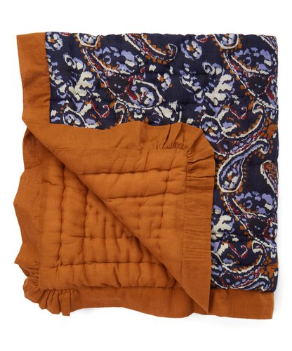 Blue Paisley Print Blanket with Camel Trim - Kids Wholesale Boutique Clothing, Blanket - Girls Dresses, Yo Baby Wholesale - Yo Baby
