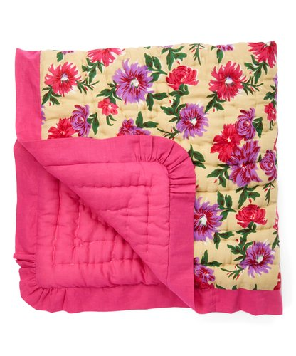 Beige Floral Blanket with Fuschia Trim - Kids Wholesale Boutique Clothing, Blanket - Girls Dresses, Yo Baby Wholesale - Yo Baby