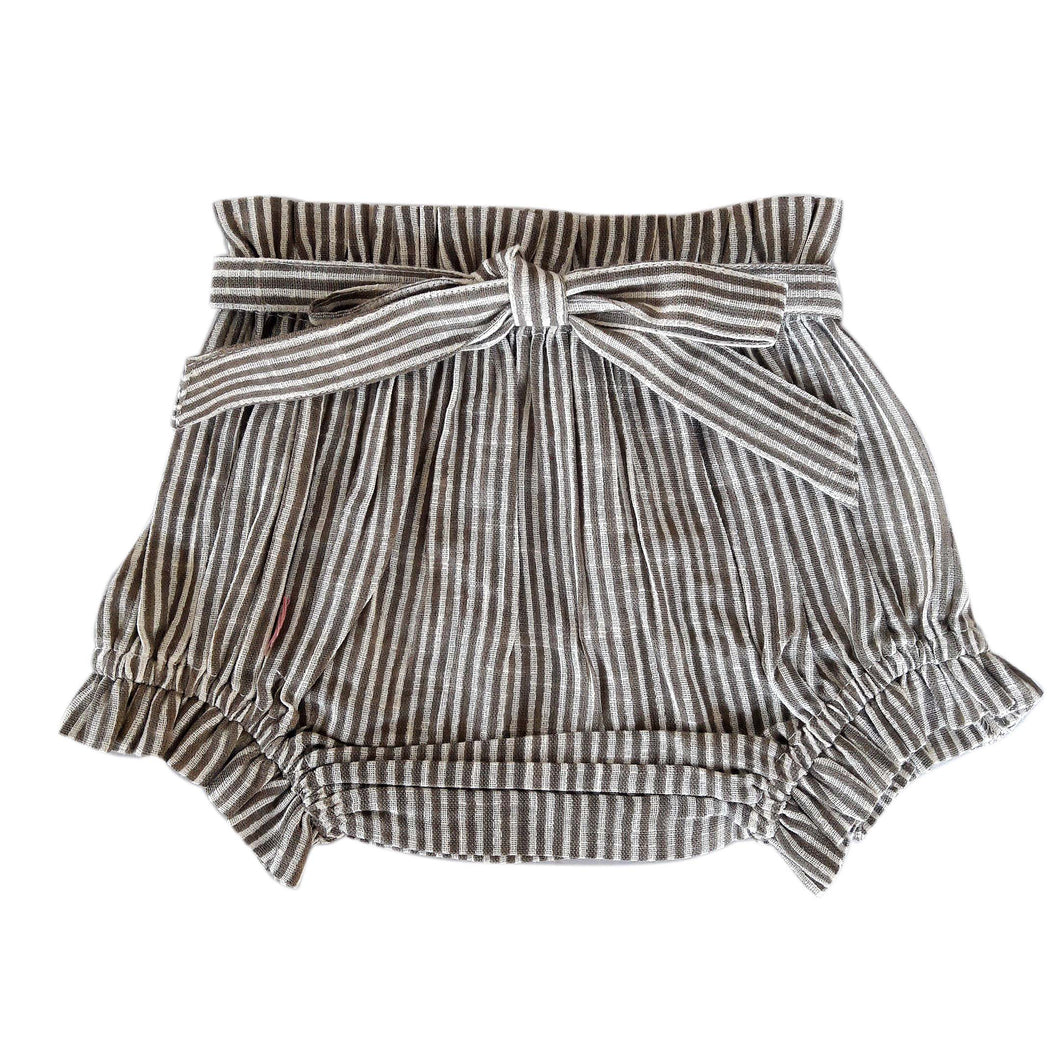 Brown Striped Shorts-Style Diaper Cover