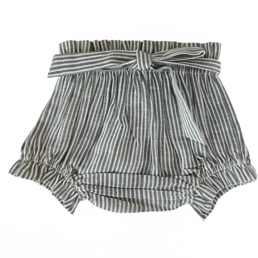 Green Striped Shorts-Style Diaper Cover