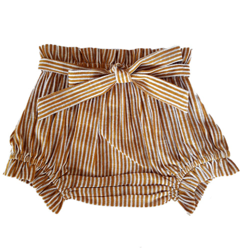Mustard Striped Shorts-Style Diaper Cover