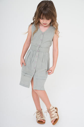 Grey Shirt Dress - Kids Wholesale Boutique Clothing, Shirt-Dress - Girls Dresses, Yo Baby Wholesale - Yo Baby