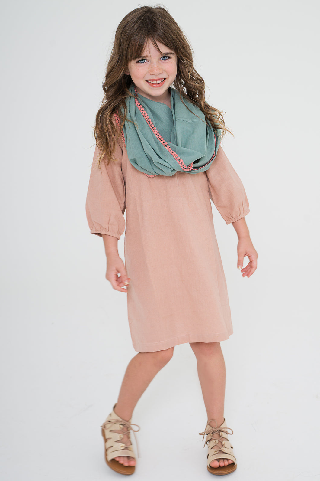 Blush Dress With Teal Infinity Scarf 2-pc. Set - Kids Wholesale Boutique Clothing, Dress - Girls Dresses, Yo Baby Wholesale - Yo Baby