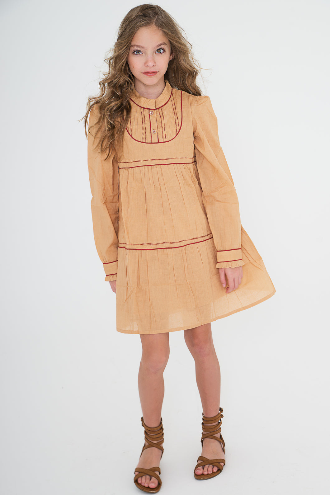 Tan dress With Red Piping - Kids Wholesale Boutique Clothing, Dress - Girls Dresses, Yo Baby Wholesale - Yo Baby