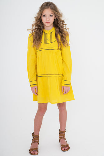 Yellow dress With Blue Piping Detail