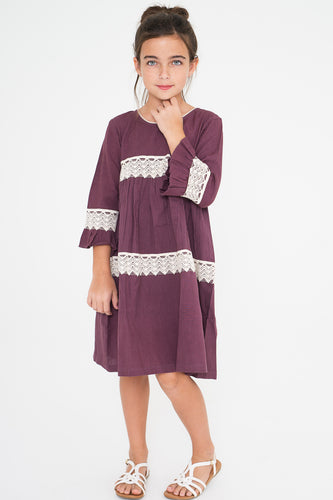 Aubergine Dress with Lace Detail - Kids Wholesale Boutique Clothing, Dress - Girls Dresses, Yo Baby Wholesale - Yo Baby