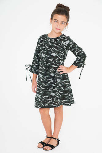 Camo Shift Dress With Tie-Sleeve Details