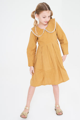 Mustard Big Peter Pan Collar Dress With Lace Detail - Kids Wholesale Boutique Clothing, Dress - Girls Dresses, Yo Baby Wholesale - Yo Baby