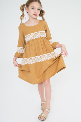 Mustard Lace Detail Dress - Kids Wholesale Boutique Clothing, Dress - Girls Dresses, Yo Baby Wholesale - Yo Baby