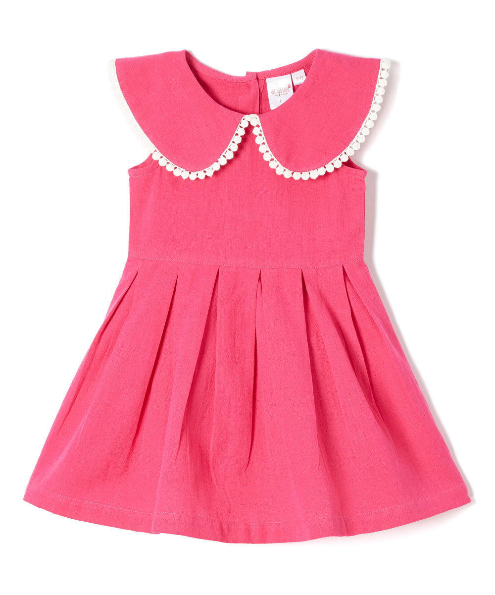 Fuchsia Big Peter-Pan Collar Infant Dress - Kids Wholesale Boutique Clothing, Dress - Girls Dresses, Yo Baby Wholesale - Yo Baby