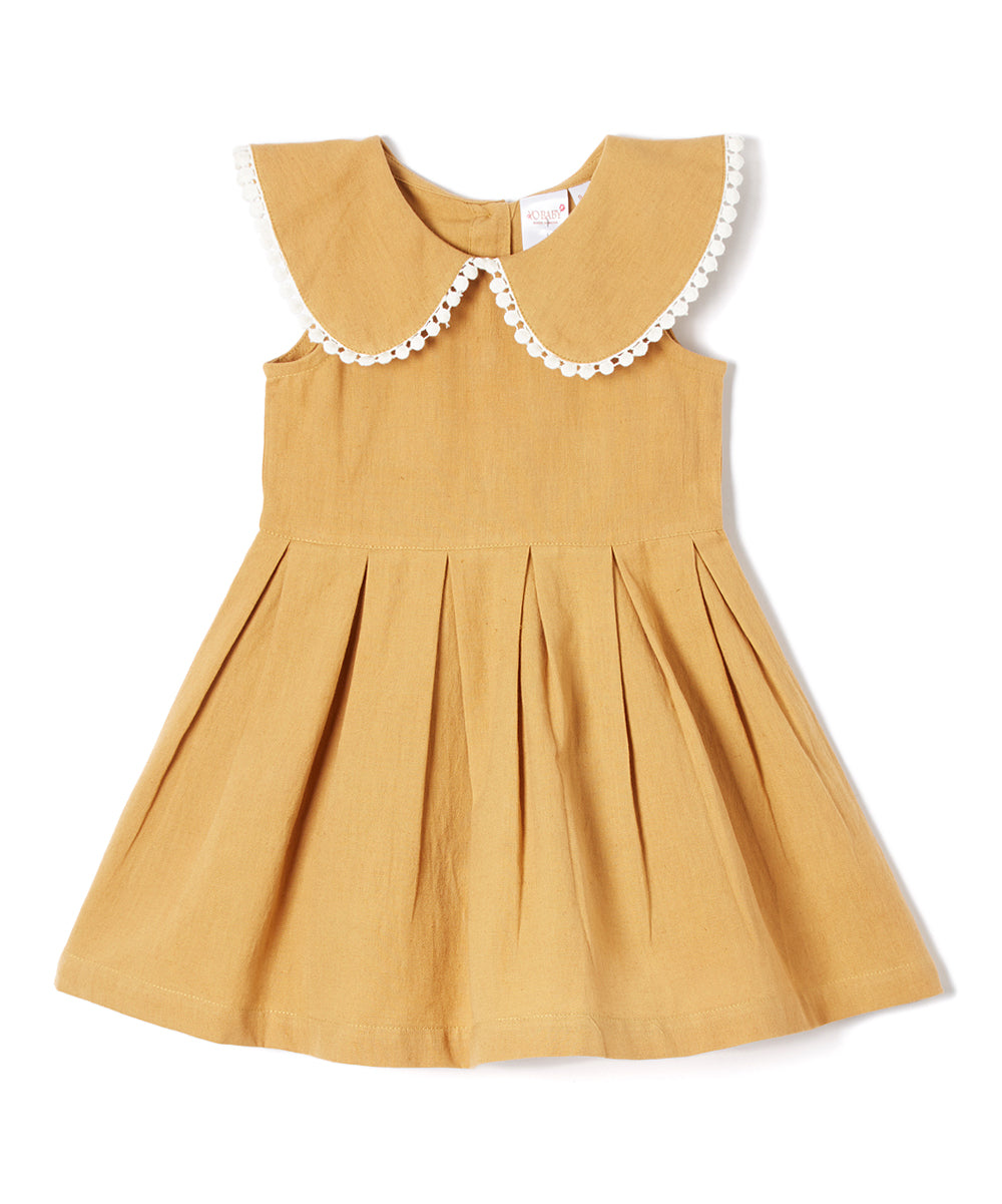 Tan Big Peter-Pan Collar Infant Dress - Kids Wholesale Boutique Clothing, Dress - Girls Dresses, Yo Baby Wholesale - Yo Baby