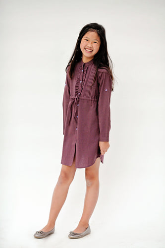 Aubergine Frill and PinTuck Detail Full Sleeved Shirt Dress - Kids Wholesale Boutique Clothing, Dress - Girls Dresses, Yo Baby Wholesale - Yo Baby