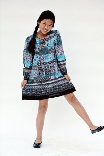Black & Teal Patchwork Print Dress