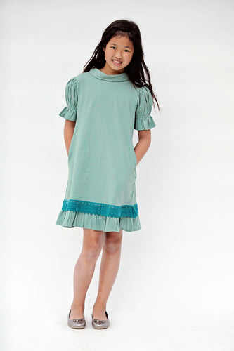 Teal on Teal Lace Detail Dress - Kids Wholesale Boutique Clothing, Dress - Girls Dresses, Yo Baby Wholesale - Yo Baby