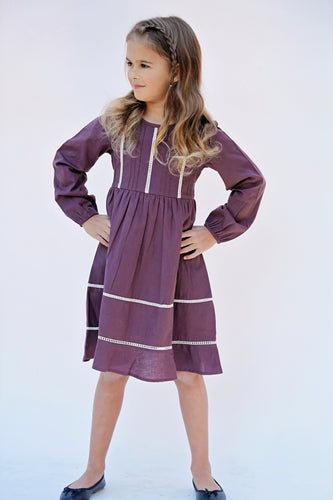 Aubergine Pin-Tuck and Lace Detail Dress - Kids Wholesale Boutique Clothing, Dress - Girls Dresses, Yo Baby Wholesale - Yo Baby