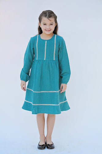 Teal Pin-Tuck and Lace Detail Dress - Kids Wholesale Boutique Clothing, Dress - Girls Dresses, Yo Baby Wholesale - Yo Baby