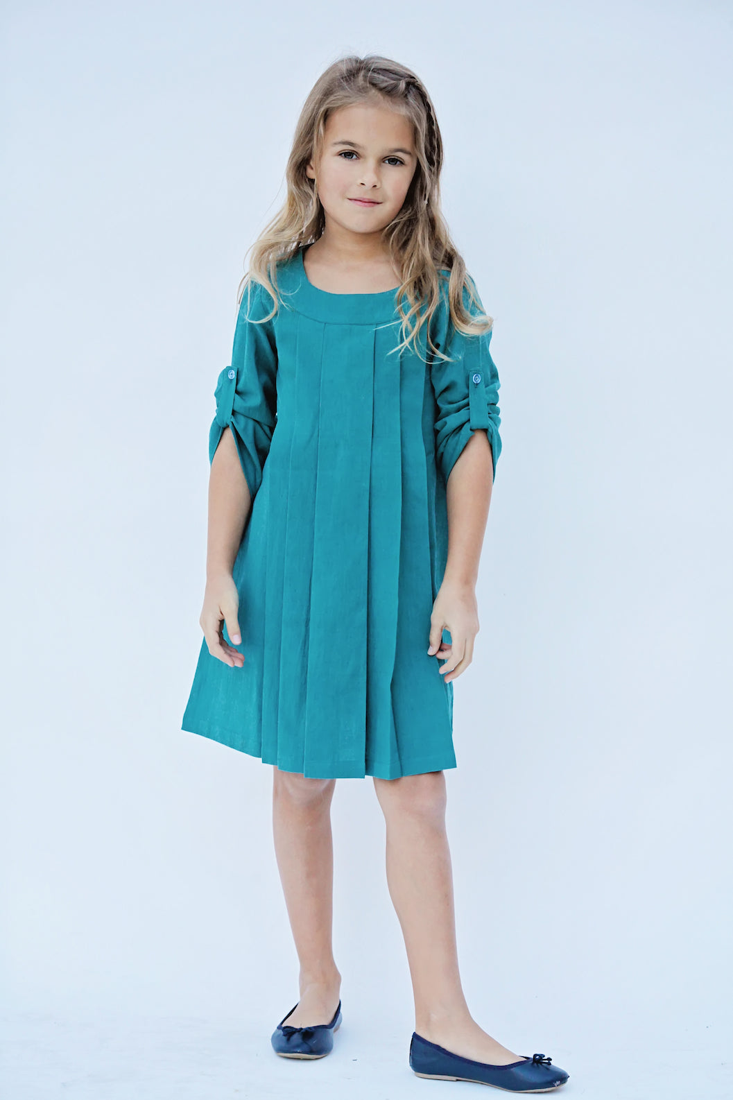 Teal Pleated Full Sleeves Shift Dress - Kids Wholesale Boutique Clothing, Dress - Girls Dresses, Yo Baby Wholesale - Yo Baby