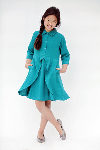Teal Flounce Dress with Pockets - Kids Wholesale Boutique Clothing, Dress - Girls Dresses, Yo Baby Wholesale - Yo Baby