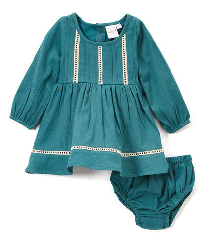 Sea Green Lace and Pin-Tuck Detail Infant Dress - Kids Wholesale Boutique Clothing, Dress - Girls Dresses, Yo Baby Wholesale - Yo Baby