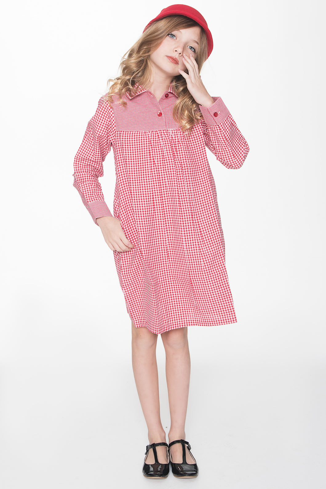 Red Checks Shirt Dress - Kids Wholesale Boutique Clothing, Shirt-Dress - Girls Dresses, Yo Baby Wholesale - Yo Baby