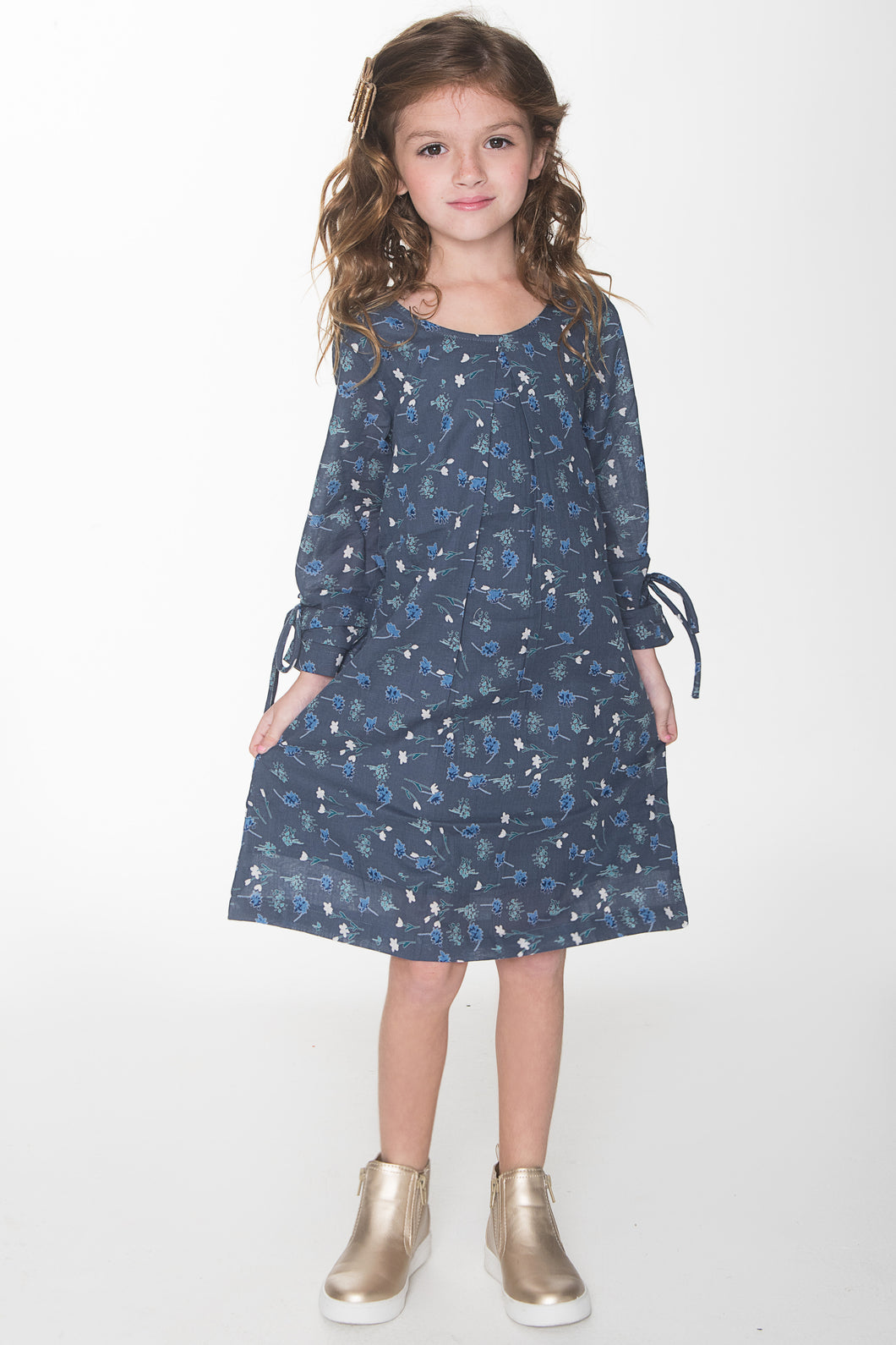 Blue Floral Shift Dress - Kids Wholesale Boutique Clothing, Dress - Girls Dresses, Yo Baby Wholesale - Yo Baby