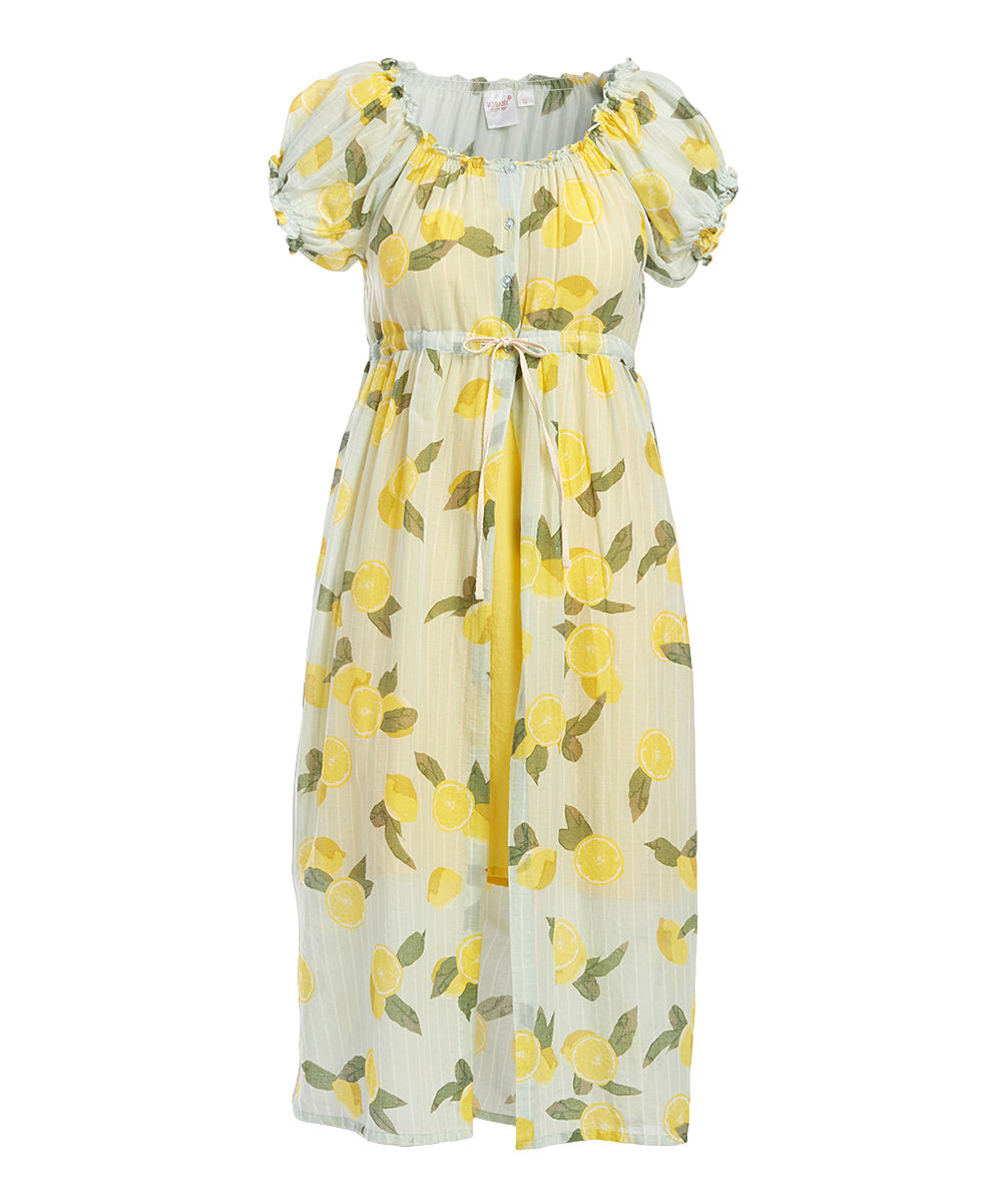 Lemon Print Duster Dress with Slip - Kids Wholesale Boutique Clothing, Dress - Girls Dresses, Yo Baby Wholesale - Yo Baby